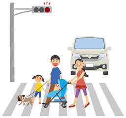 ベビーカーを押しながらペットの散歩をするファミリーのイメージイラスト(横断報道を横断中)
