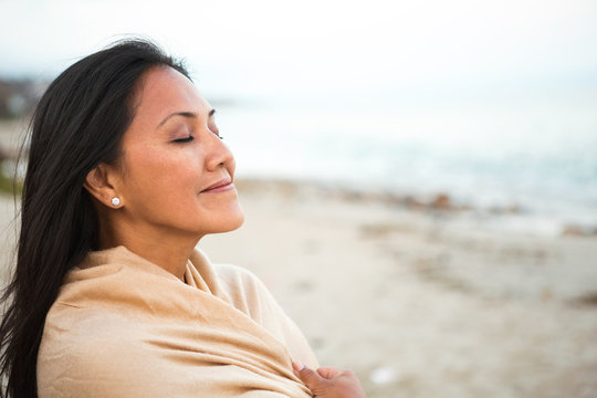 Asian woman the beach.