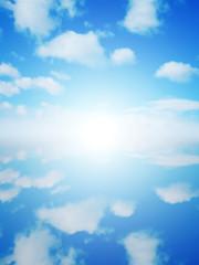 青空と雲と太陽と水鏡