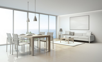 Sketch design of sea view living room and dining room in luxury house- 3D rendering