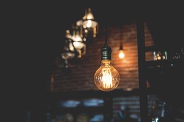 Lighting bulb decor in shop , vintage
