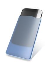 smartphone in a blue case