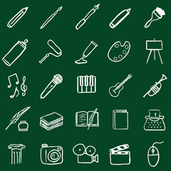 Vector Set of Chalk Doodle Art Icons