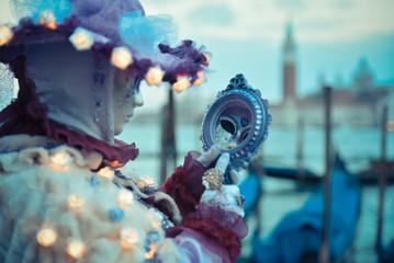 Beautifull Venetian masked model from the Venice Carnival 2015 w