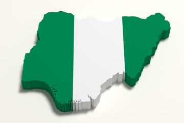 Silhouette of Nigeria map with flag