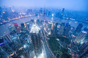 aerial view of shanghai paronama at night,china.