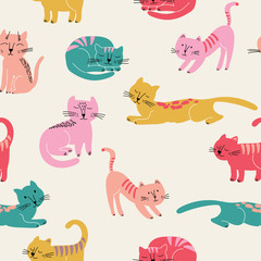 Cute seamless pattern with colorful cats