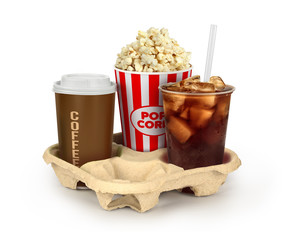 Popcorn in box with colaand coffee in takeaway cup isolated on w