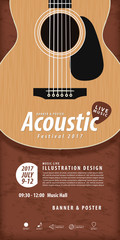 Guitar, Musical instrument design realistic style and poster mus
