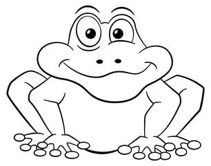schwarz weißer Cartoon Frosch