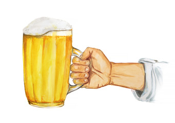 Isolated watercolor hand with beer glass on white background. Beer glass with foam. octoberfest