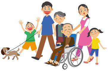 年配男性が乗った車椅子を押す女性とその家族のイメージイラスト