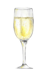 Isolated watercolor champagne glass on white background. Celebration or holiday drinking.