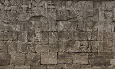 Medieval carving on the walls of the Borobudur temple