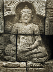 Medieval carving - Buddha. Borobudur temple.