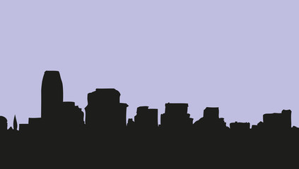 Panoramic city view. Vector sketch