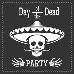 Day of the dead vector party poster with skull in mexican sombrero. Dia de los muertos illustration