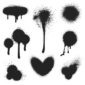 Spray paint vector set. Paint splatter texture isolated on white background