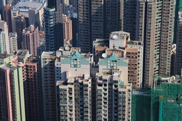 Tall buildings in the centre of Hong Kong