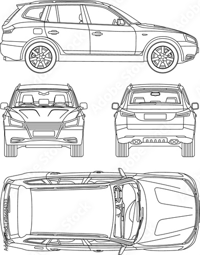 Line Art Xl 2008 : Quot car suv line draw rent damage condition report