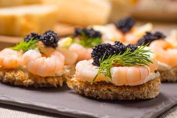 Shrimp Appetizer served on toasted bread