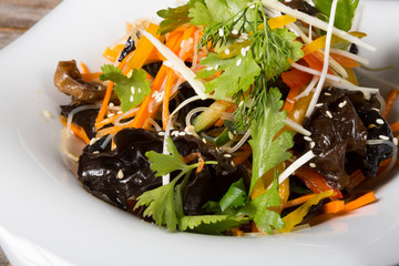 Asian salad with black shiitake mushroom
