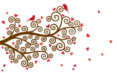 Vector illustration of curl abstract Valentine tree branch with red hearts on white background.