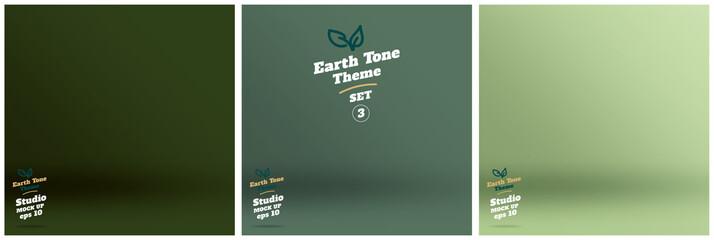 Vector,set of Empty earth tone green color lighting studio room