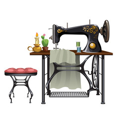 Workplace of seamstress on white background