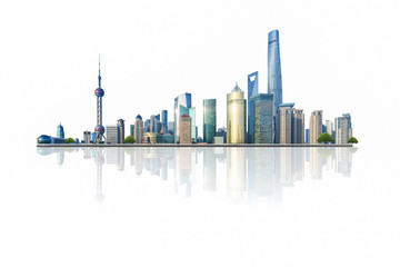 Fotorolgordijn Shanghai shanghai cityscape and skyline with white background,china.