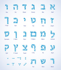 Hebrew alphabet - jewish letters with polygonal pattern