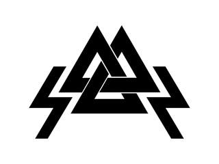 Valknut is a symbol of the world's end of the tree Yggdrasil. Sign of the god Odin. It refers to the Norse culture.
