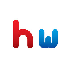 hw logo initial blue and red