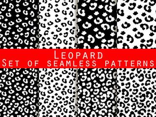 Leopard skin seamless pattern. Monochrome color. Vector illustration.