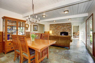 House interior with open floor plan, including dining room, living room and family room.