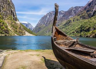 Viking drakkar in a fjord in Norway