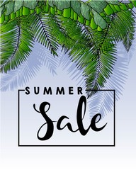Vector flyer of summer sale. Decorated with trendy exotic plants and palm leaves. Hand drawn vintage art.