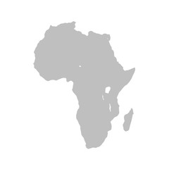 Wall Mural - Map of Africa continent in gray on a white background