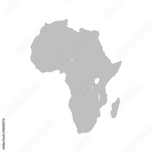 Wall mural Map of Africa continent in gray on a white background