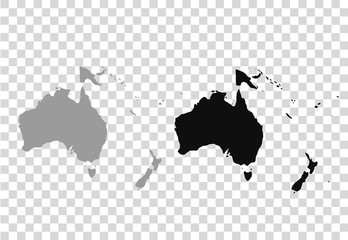 Wall Mural - Map of Oceania in gray on a white background