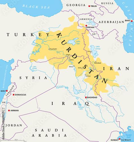 Kurdistan, Kurdish lands political map  Cultural region wherein