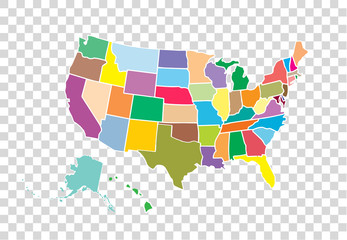Wall Mural - Blank similar USA map isolated on white background. United States of America country. Vector template for website, design, cover, infographics. Graph illustration.