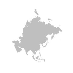 Wall Mural - Asia map in gray on a white background