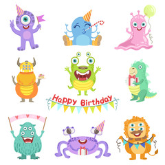 Garden Poster Creatures Friendly Monsters With Birthday Party Attributes
