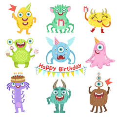 Photo sur Aluminium Creatures Sweet Monsters Happy With Birthday Party Objects