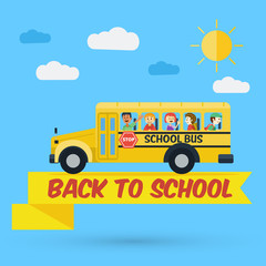 Flat design, Students on school bus