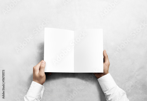 Hand Opening Blank White Brochure Booklet Mockup Leaflet - Brochure blank template