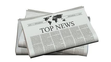 newspaper with the headline top news