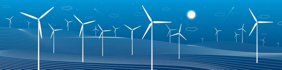 Ecology panorama, mountains landscape, windmills, wind force, energy illustration,