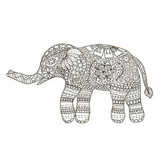 Hand drawn Elephant with ethnic floral doodle pattern. Coloring